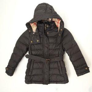 BURBERRY Children Black Nylon Hooded Puffer Coat